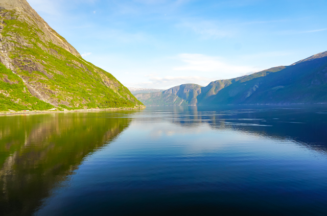 View from the Viking cruise ship berthed at Eidfjord Norway