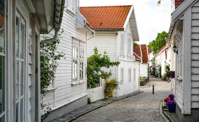 The white houses of Gamle Stavanger in Stavanger Norway