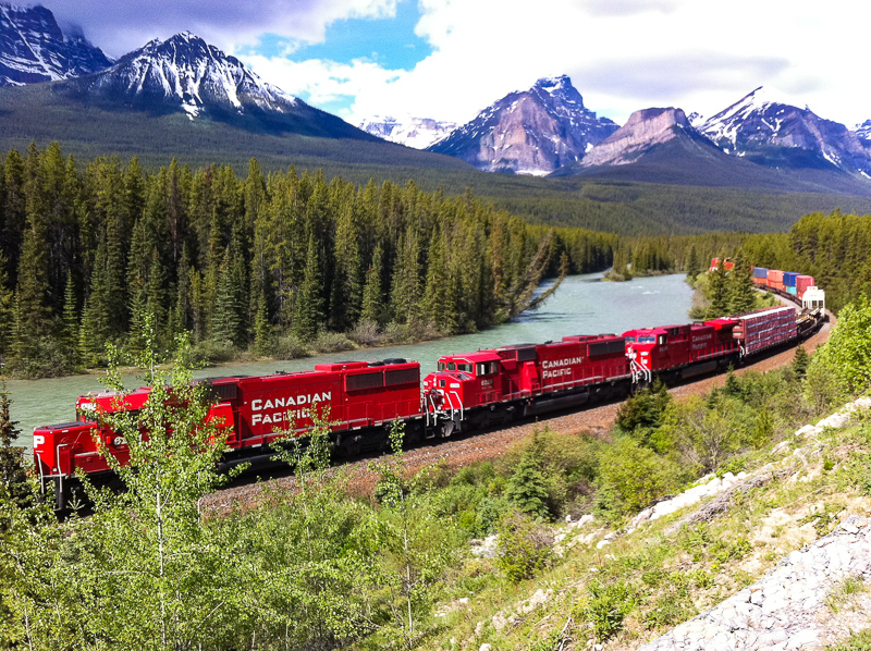 Train at Morant's Curve, Banff National Park, Alberta, Canada