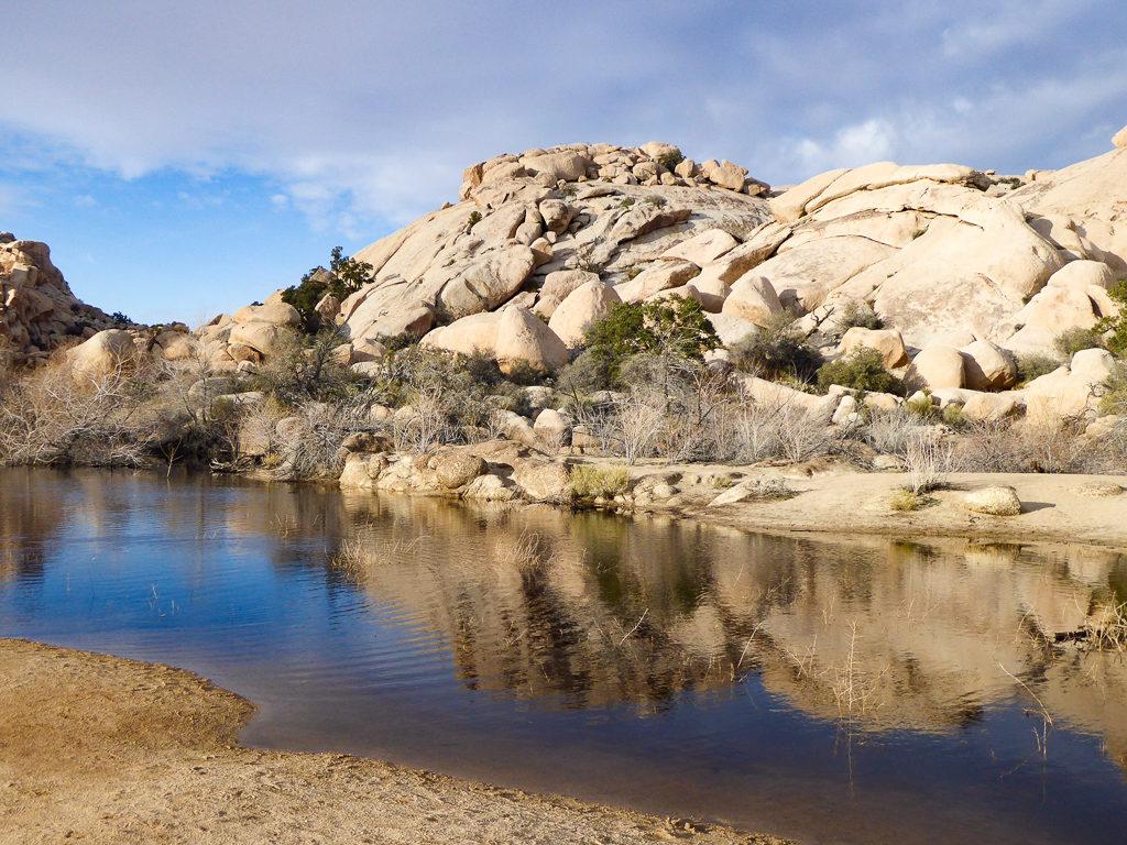 Reflections at Barker Dam, Joshua Tree National Park, California, USA