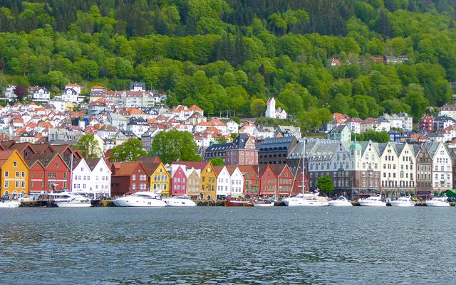 A view of Bryggen Wharf in Bergen Norway