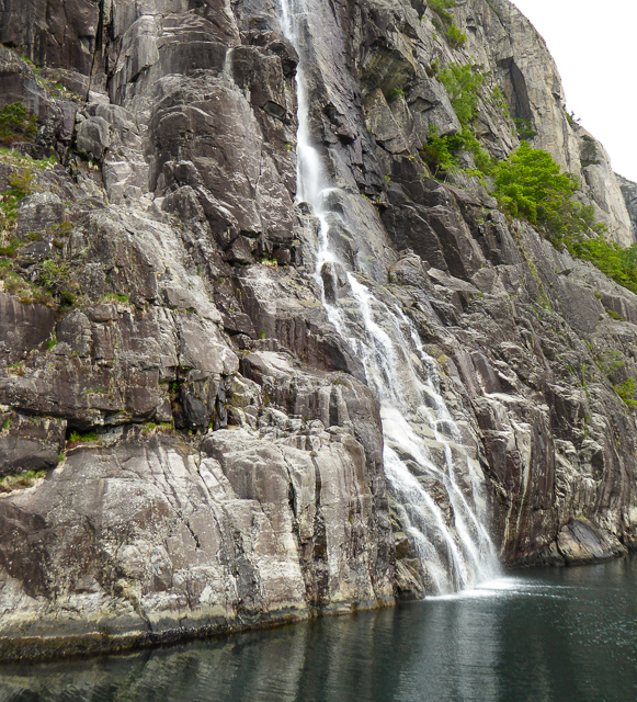 Waterfall on the Lysefjord Cruise from Stavanger to Pulpit Rock in Norway