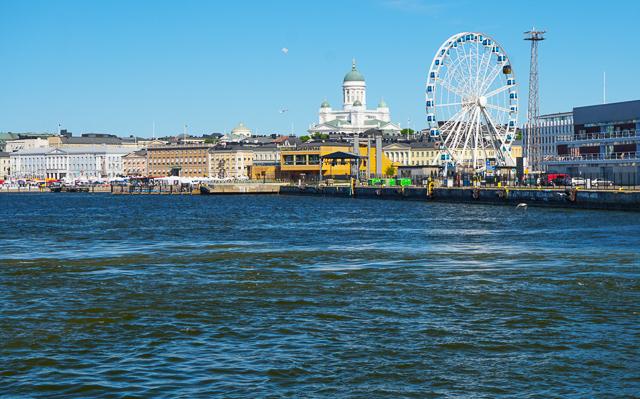 View of Helsinki shoreline from ferry, Helsinki, Finland