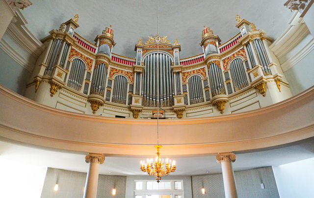 The organ in the Helsinki Cathedral in Finland