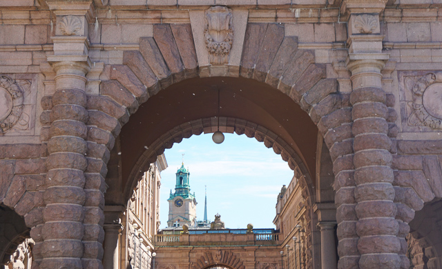 The tower of the Stockholm Cathedral in Gamla Stan Stockholm Sweden