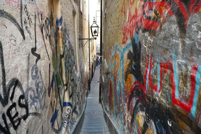 The narrowest street in Gamla Stan, Stockholm, Sweden