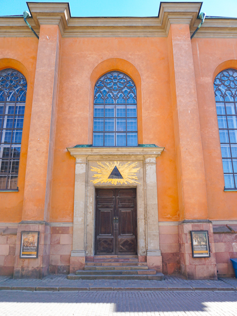 The entrance to the Stockholm Cathedral in Gamla Stan Stockholm Sweden