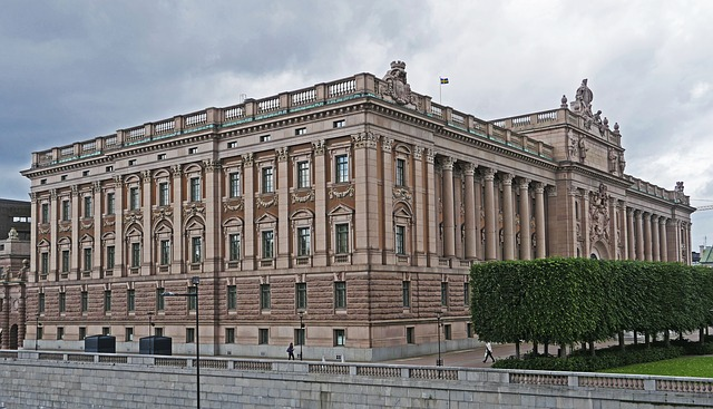 The Swedish Parliament building in Stockholm, Sweden