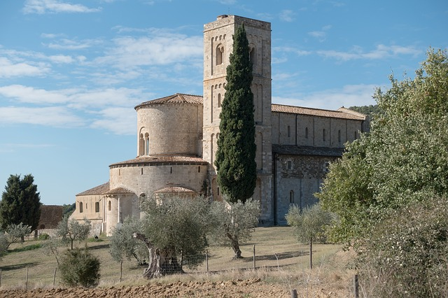 Sant'Antimo Abbey near Montalcino in Tuscany