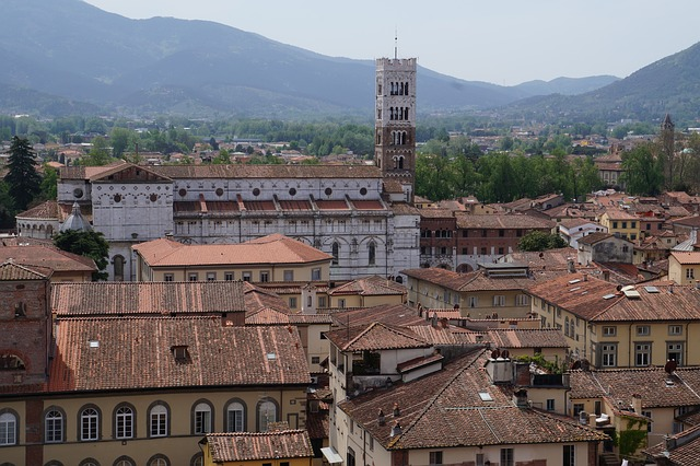 View of rooftops in Lucca, Italy