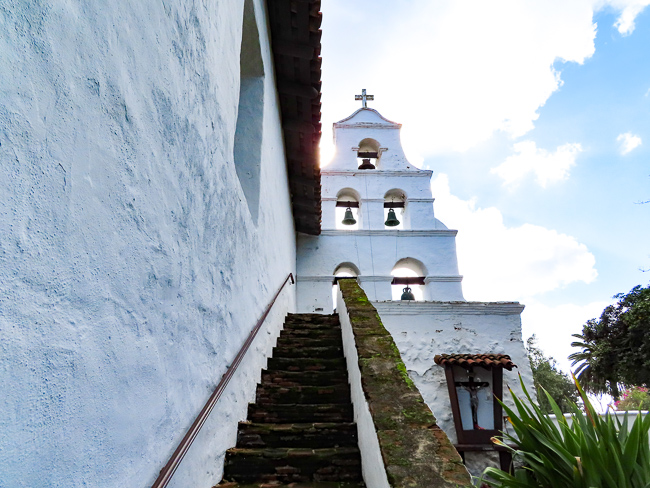 The bell tower of Mission San Diego, California