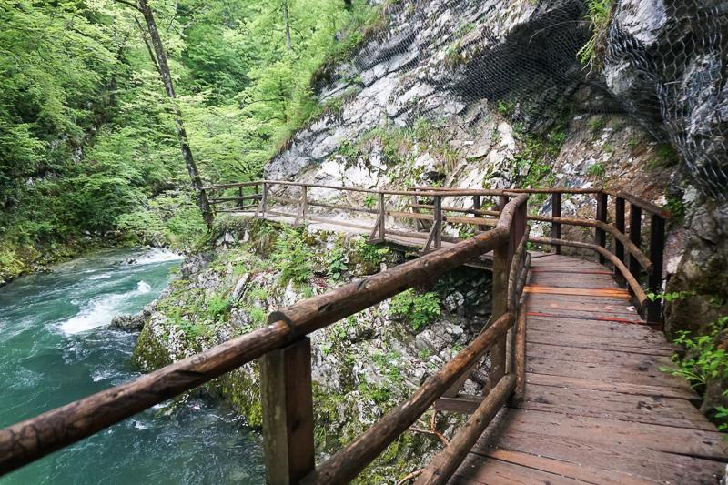 Boardwalk at Vintgar Gorge in Slovenia