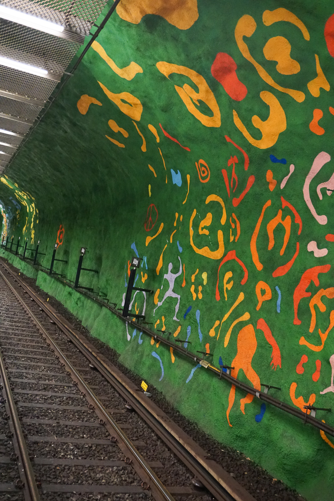 Subway art at Alby Metro Station in Stockholm Sweden