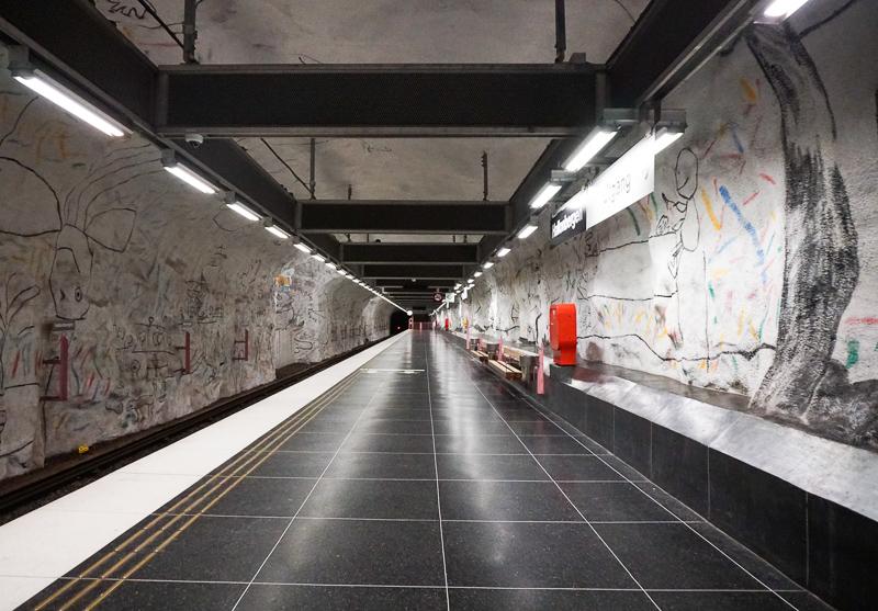 Platform at Hallonbergen Station in Stockholm Sweden