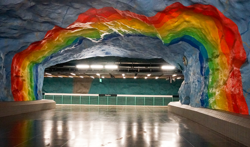Rainbow Cave Stadion Subway Station Stockholm Sweden