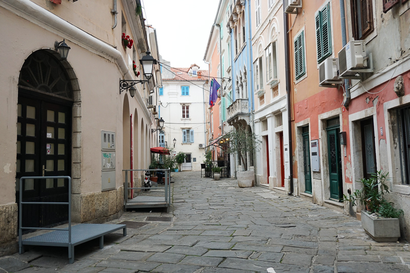 A colorful street in Piran Slovenia