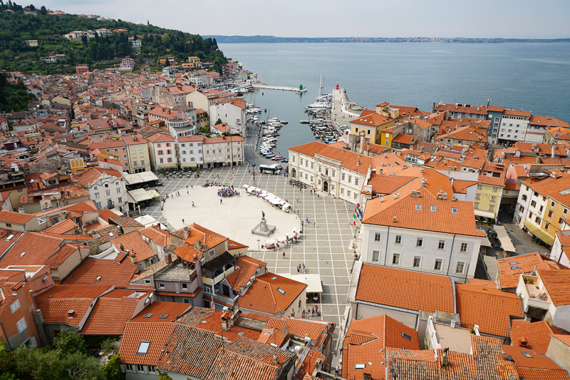 Tartini Square from Bell Tower Piran Slovenia