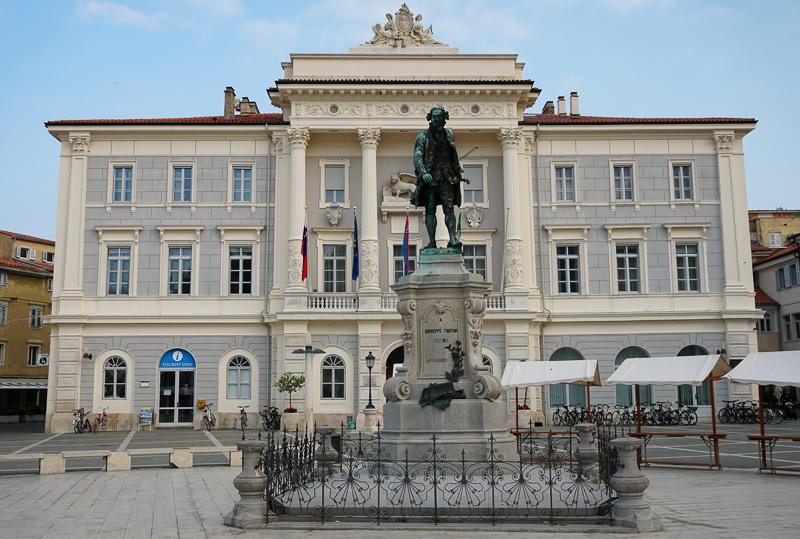 Statue of Giuseppe Tartini in Piran Slovenia
