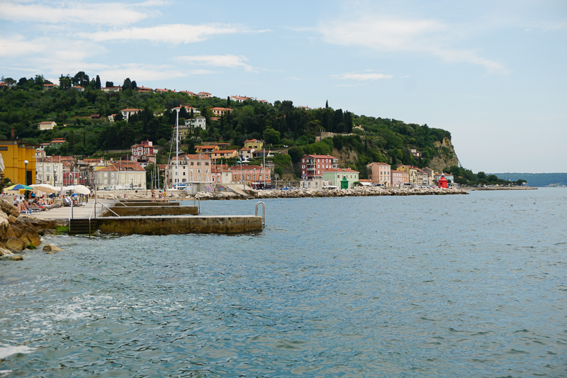 The pretty coastline in Piran Slovenia