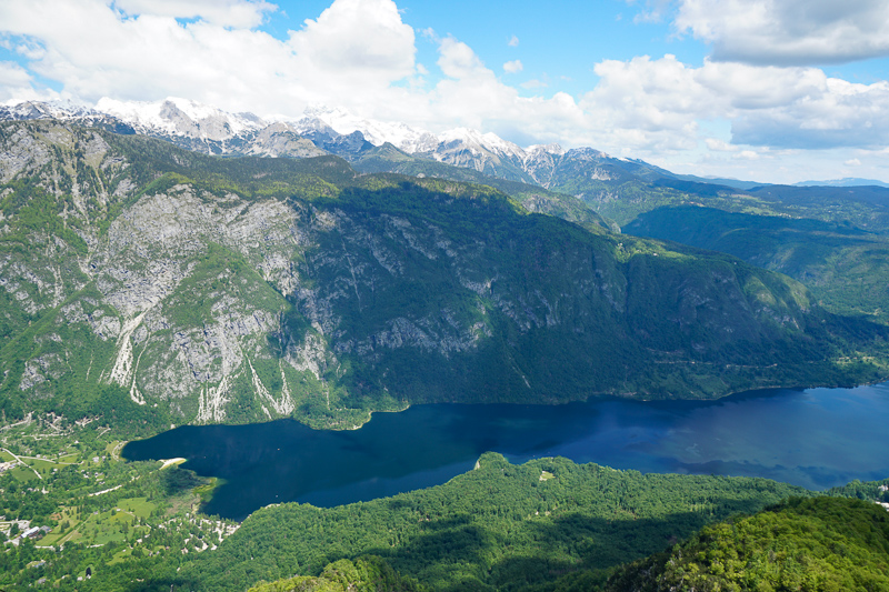 Bohinj Lake, seen from the top of from Mount Vogel, Slovenia