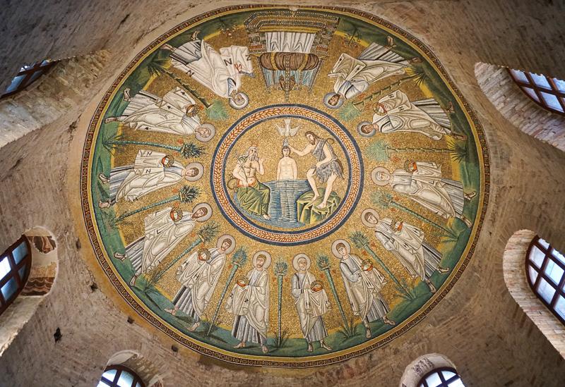 Ceiling Mosaic Arian Baptistery Ravenna Italy