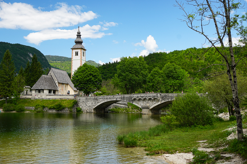 Church and Bridge Ribcev Laz Slovenia
