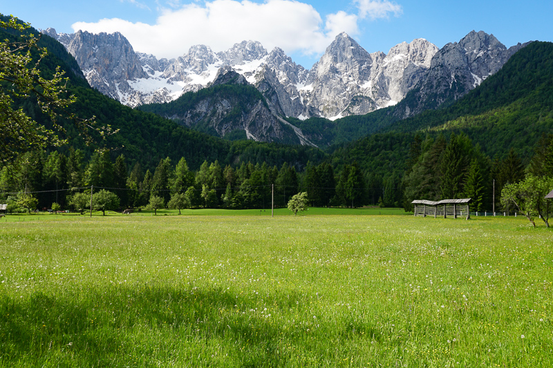A view of the Julian Alps at Kranjska Gora in Slovenia