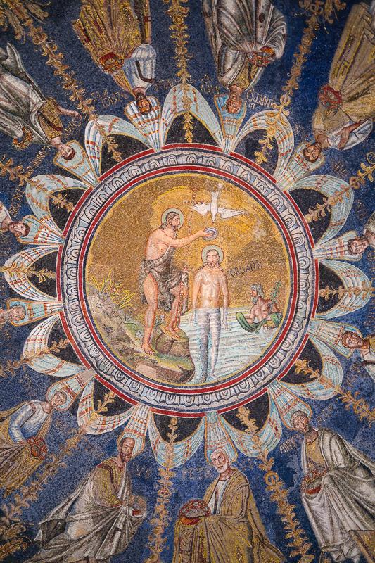 Mosaic Ceiling Neon Baptistery Ravenna Italy