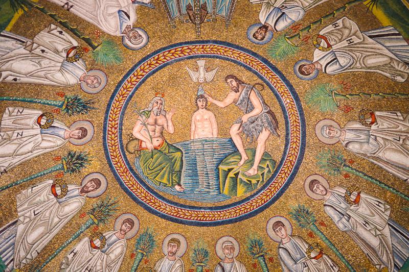 Mosaic Cupola Arian Baptistery Ravenna Italy