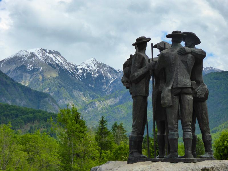 Four Climbers Statue Lake Bohinj Slovenia