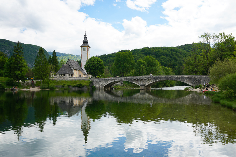 The picturesque St. John the Baptist Church, Lake Bohinj, Slovenia