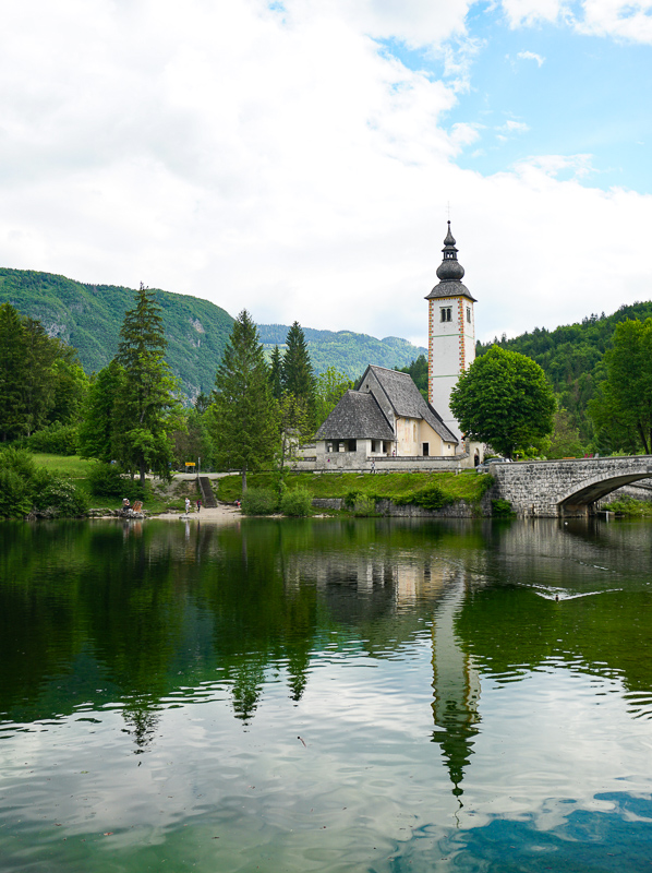 St. John the Baptist Church from boat pier at lake Bohinj, Slovenia