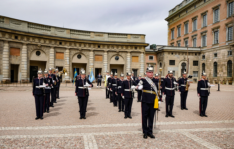 Band playing at the changing of the guard ceremony at the Royal Palace in Stockholm, Sweden