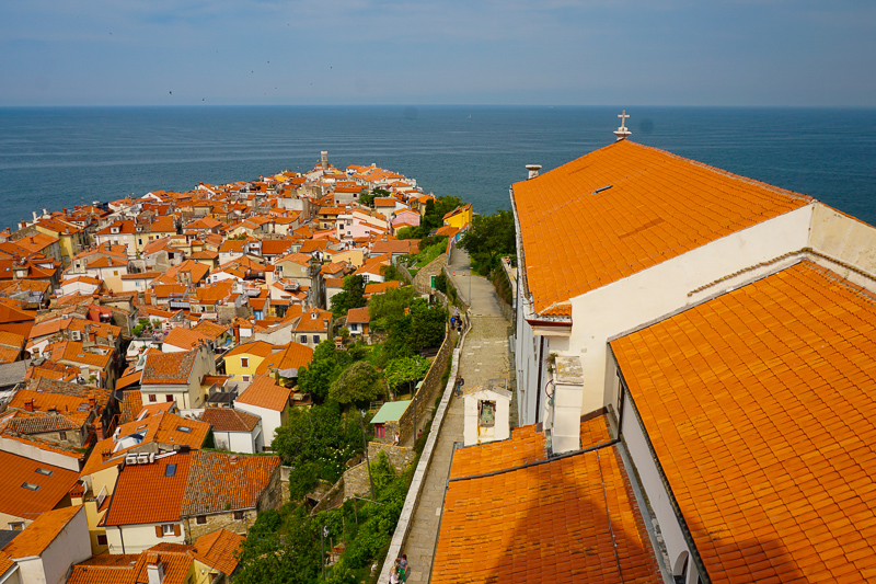 View from Church of St. George Bell Tower in Piran, Slovenia