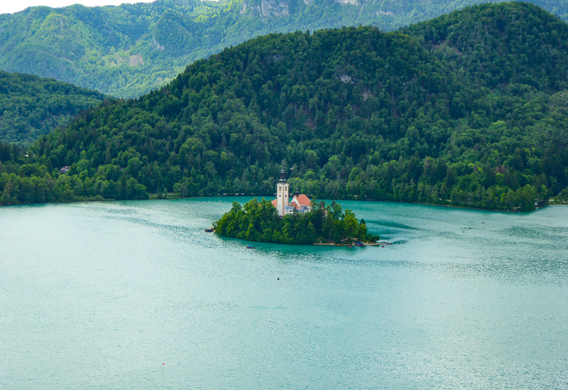 A view of Lake Bled in Slovenia
