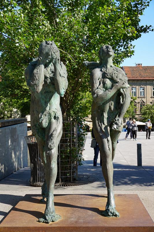 Adam and Eve Butchers' Bridge Ljubljana Slovenia