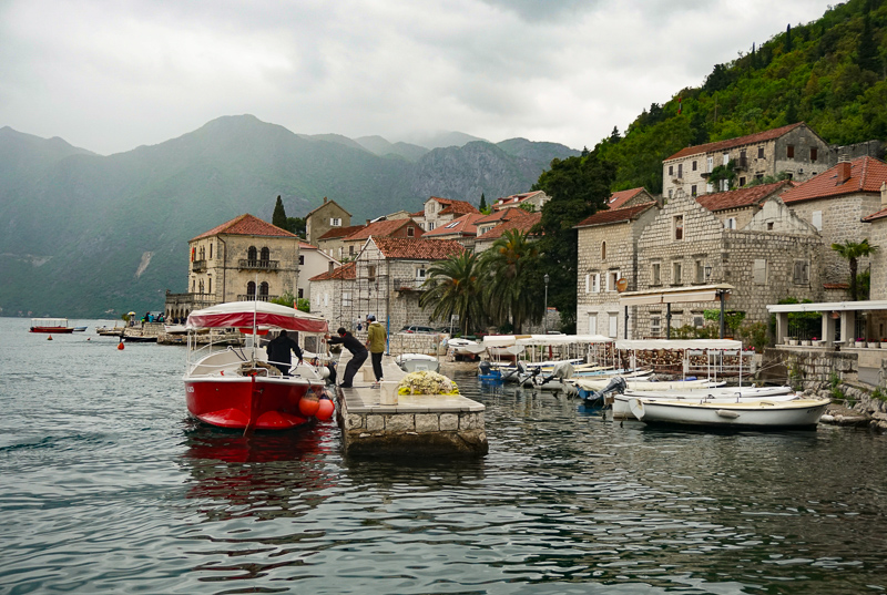 Bay of Kotor in Montenegro on a rainy day