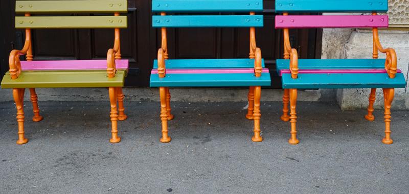 Colorful benches in Ljubljana Slovenia