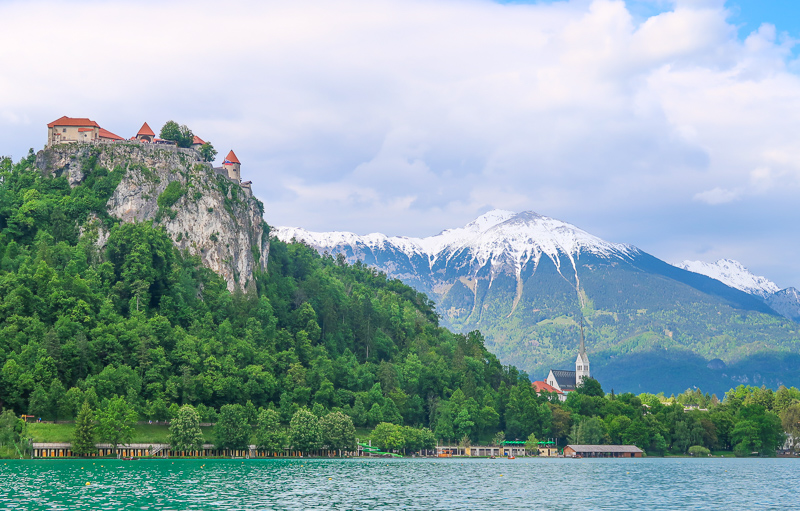 Bled Castle seen from Bled Lake, Slovenia