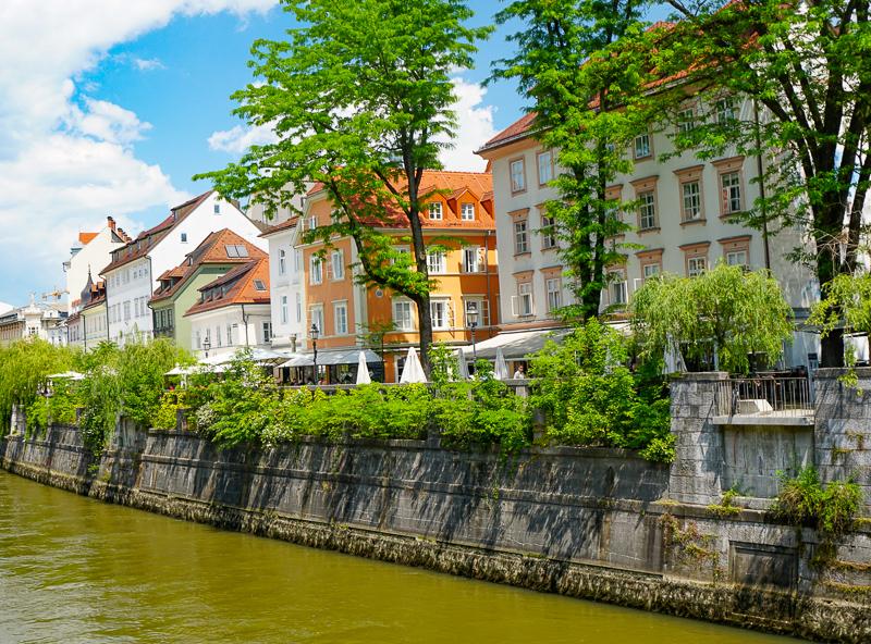 Houses along the Ljubljanica River in Ljubljana, Slovenia