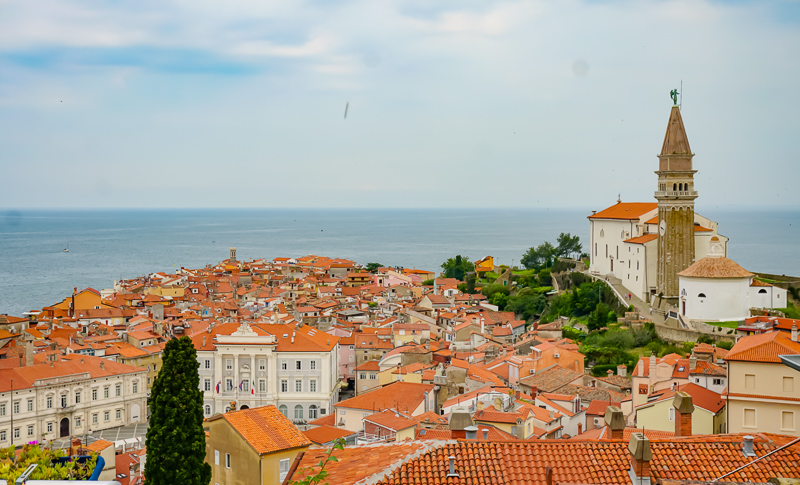 Piran rooftops from Church of St. George, Piran, Slovenia