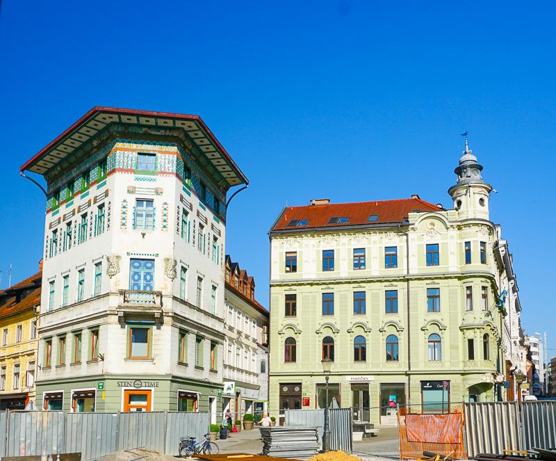 Beautiful buildings surround Preseren Square in Ljubljana Slovenia