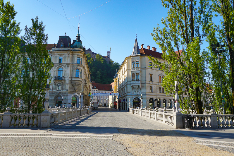 Looking out from Preseren Square in Ljubljana Slovenia