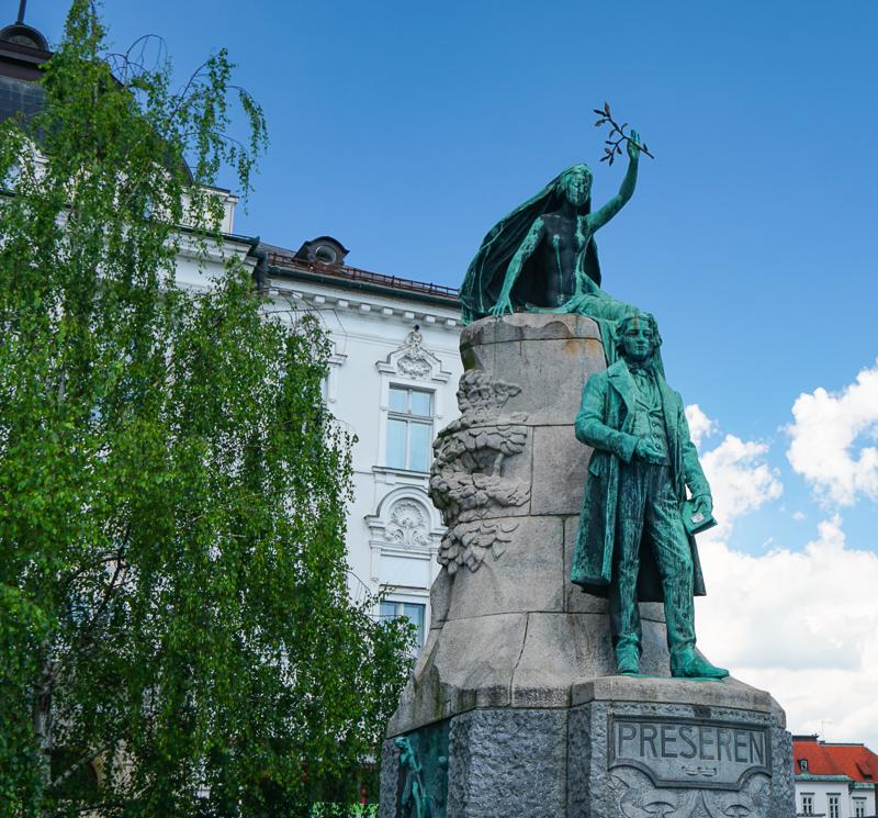 Statue of Preseren in Preseren Square, Ljubljana, Slovenia