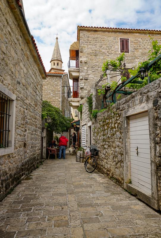 Street in Budva Old Town, Montenegro