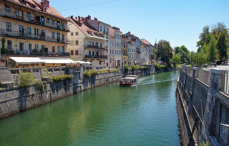 Tourist Boat on Ljubljanica River in Ljubljana Slovenia