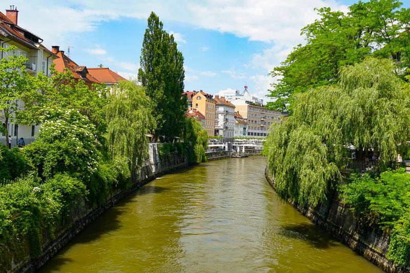 View from Bridge in Ljubljana Slovenia