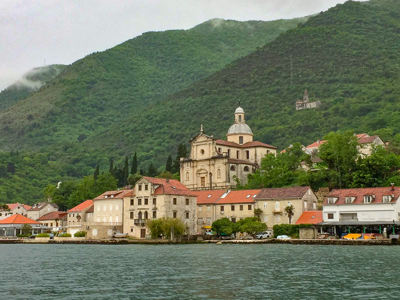 View from the Perast to Kotor ferry Bay of Kotor Montenegro