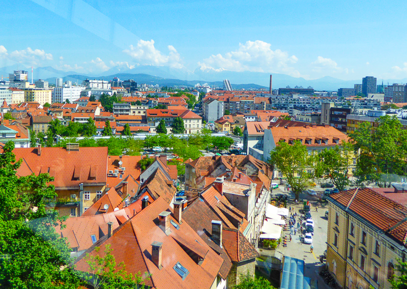 View from the funicular to Ljubljana Castle