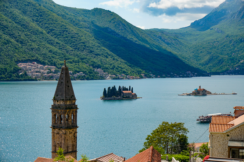View of Perast Bell Tower from Bay of Kotor Road in Montenegro